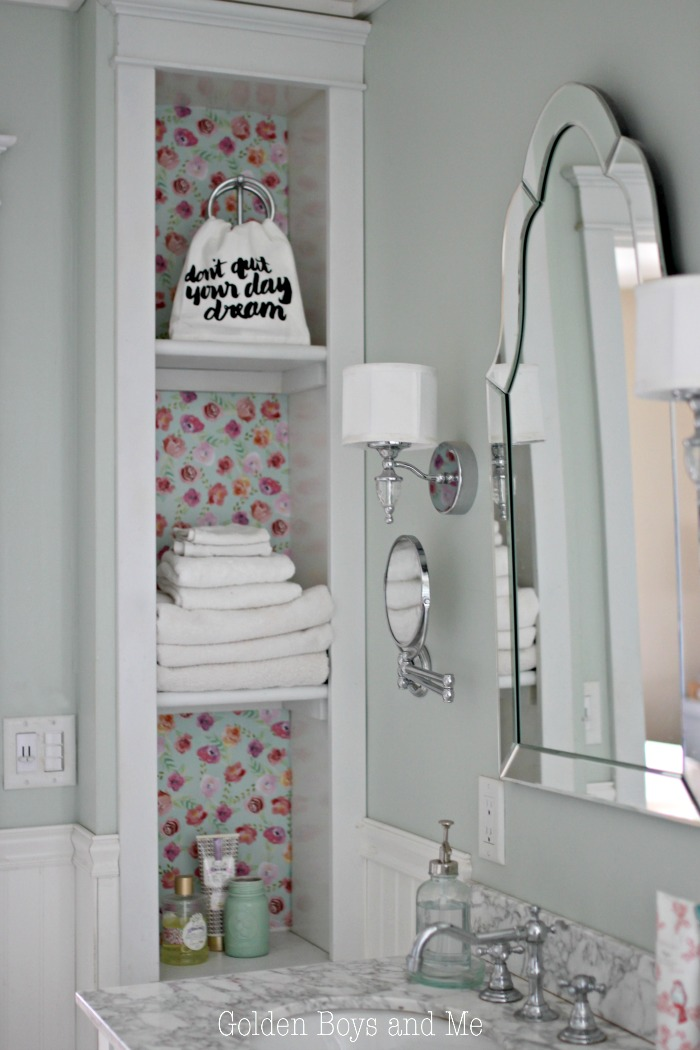 DIY built-ins in master bathroom - www.goldenboysandme.com