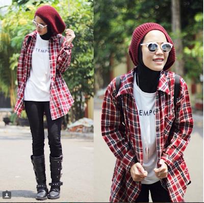 Kemeja Flanel Wanita Hijab Model Dan Gaya Terbaru Kekinian