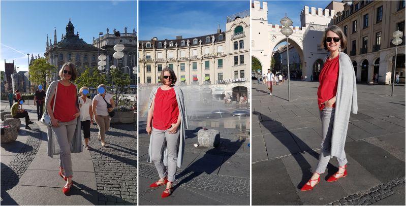 In Silbergrau und Rot am Münchner Stachus