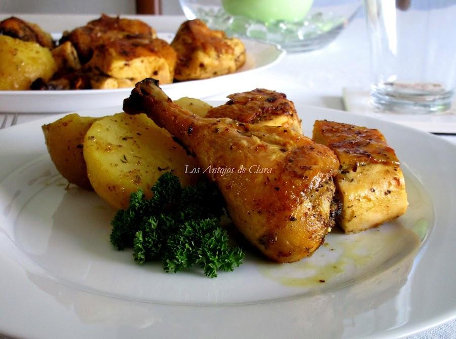Pollo al horno con hierbas provenzales y limón