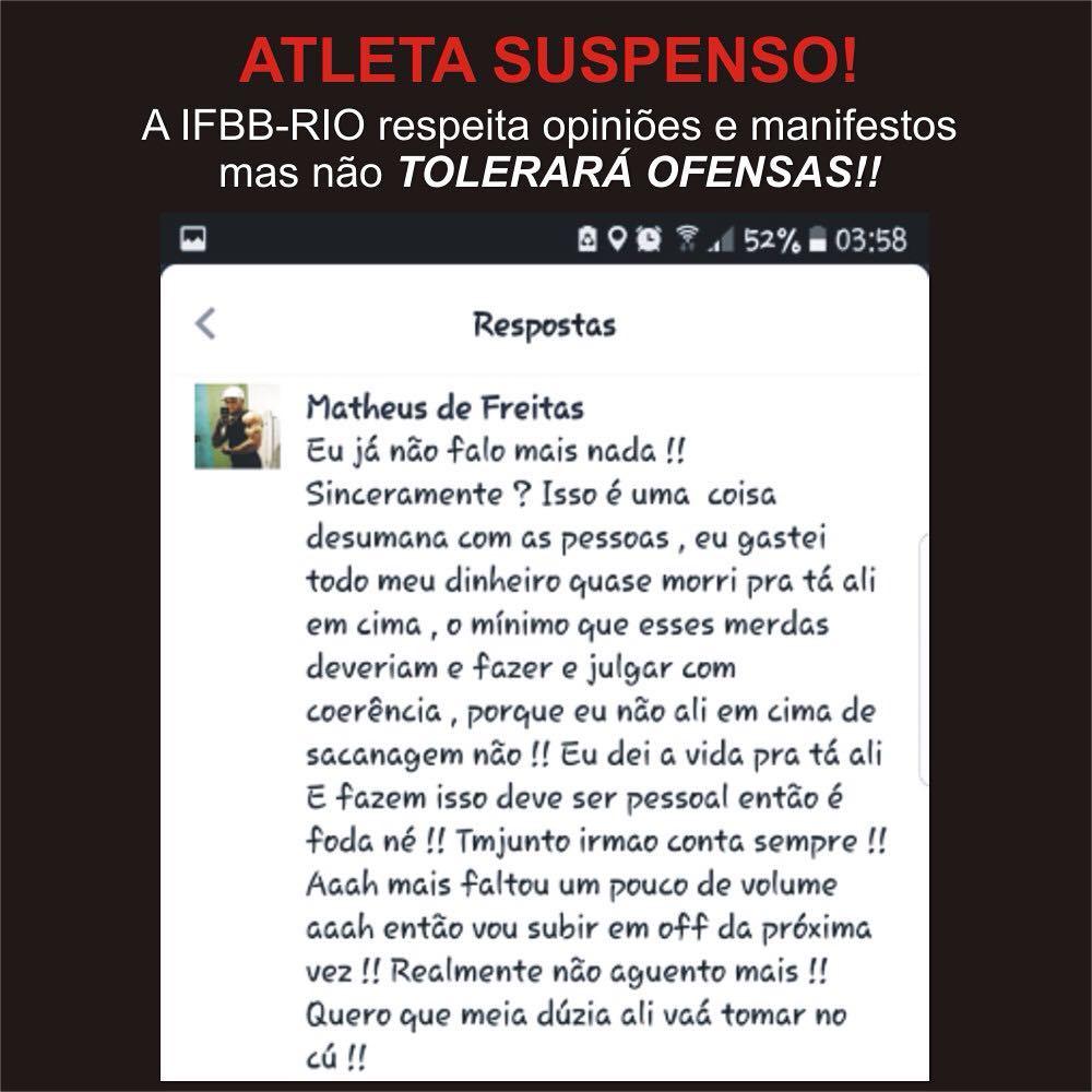 Comentário feito pelo atleta Matheis de Freitas em rede social. Foto: IFBB-RIO