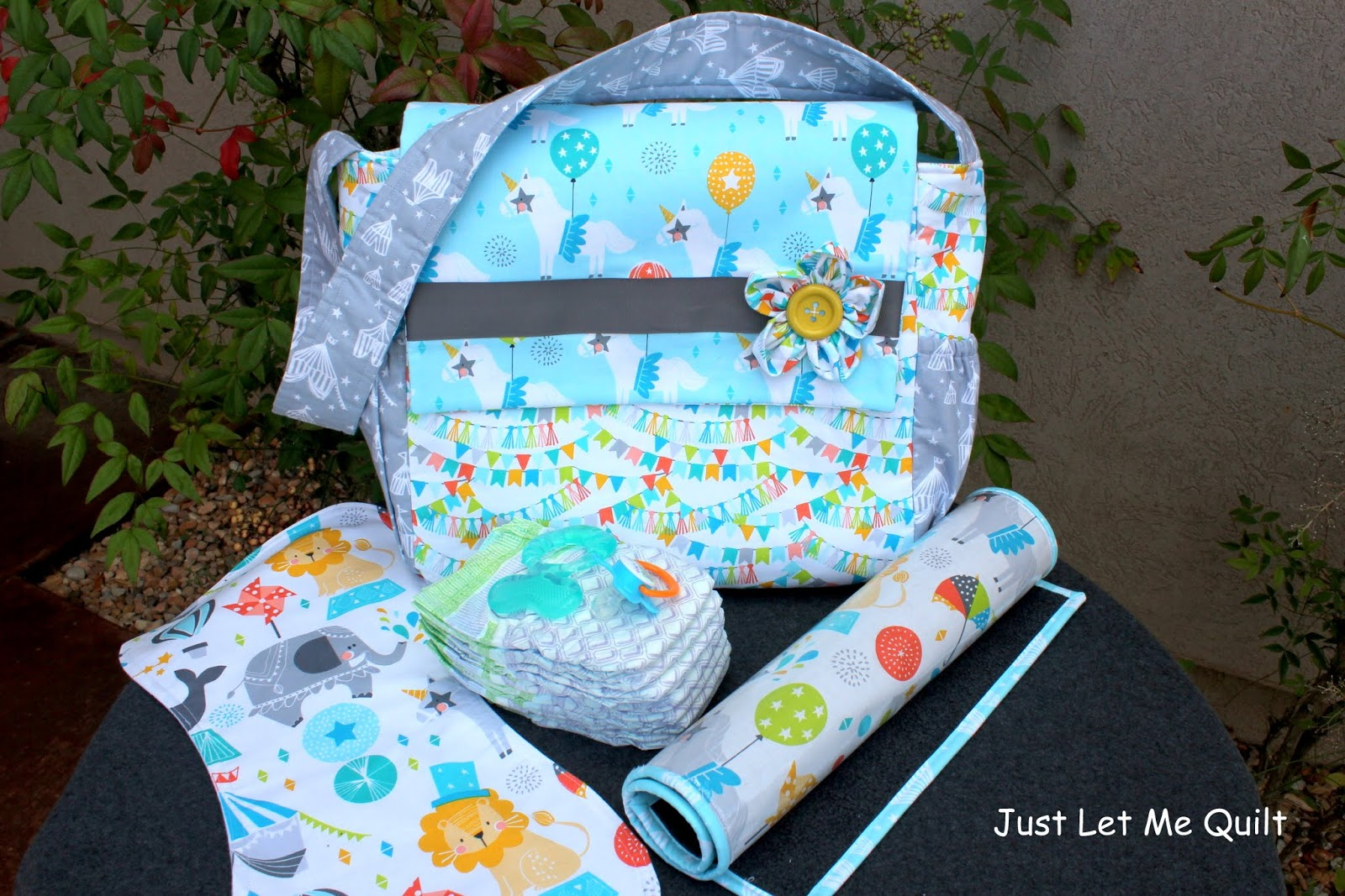 Just Let Me Quilt: Blend Fabric's Caliope Designs In A Diaper Bag
