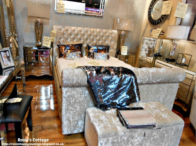 Crushed velvet bed & ottoman with mirrored dressers and sidetables