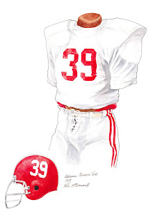 1979 Alabama Crimson Tide football uniform original art for sale
