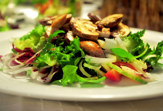 Raw Marinated Mushroom Sauté with Green Salad and Mustered Dressing