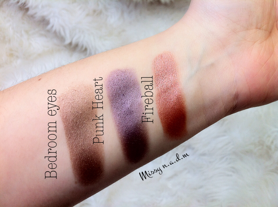 Swatches Of The Nyx Prismatic Eyeshadows In Bedroom Eyes Punk Heart Fireball Lied Dry
