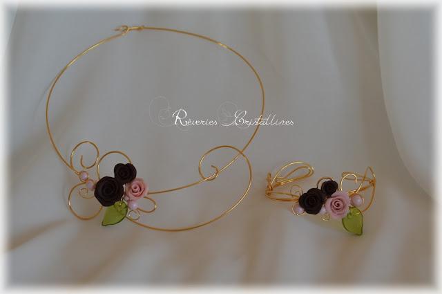parure fil de cuivre et roses en porcelaine froide