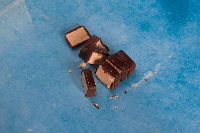 A cut up posh bounty chocolate bar