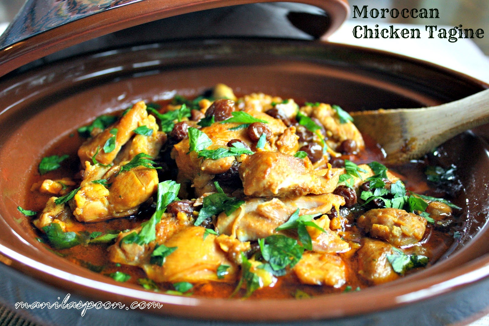 MOROCCAN CHICKEN TAGINE - flavored with tasty spices and fruits, it's simply delicious! Serve with rice.