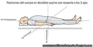 En posición de decúbito supino tenemos 3 ejes: el anteroposterior formando una línea horizontal de cabeza a los pies, el craneocaudal como una línea vertical que cruza el abdomen de arriba a abajo y el transversal que realiza un corte de izquierda a derecha