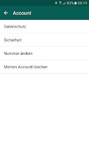 Screenshot WhatsApp-Account ohne Zustimmung zur Datenweitergabe an Facebook