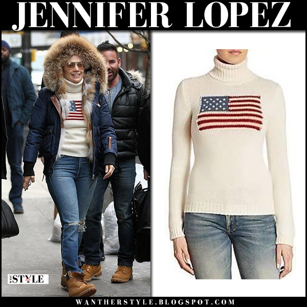 Jennifer Lopez in navy jacket, cream flag sweater ralph laurent iconic, jeans and brown boots timberland winter street style december 15
