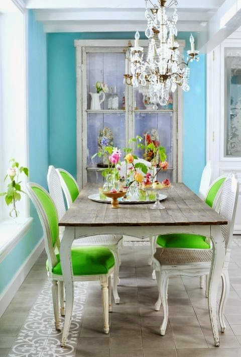 Greens Dining Room Pale Green Living Room Wall Decoration: Rooms Of Inspiration: Lovely Blue, White And Green Dining Room