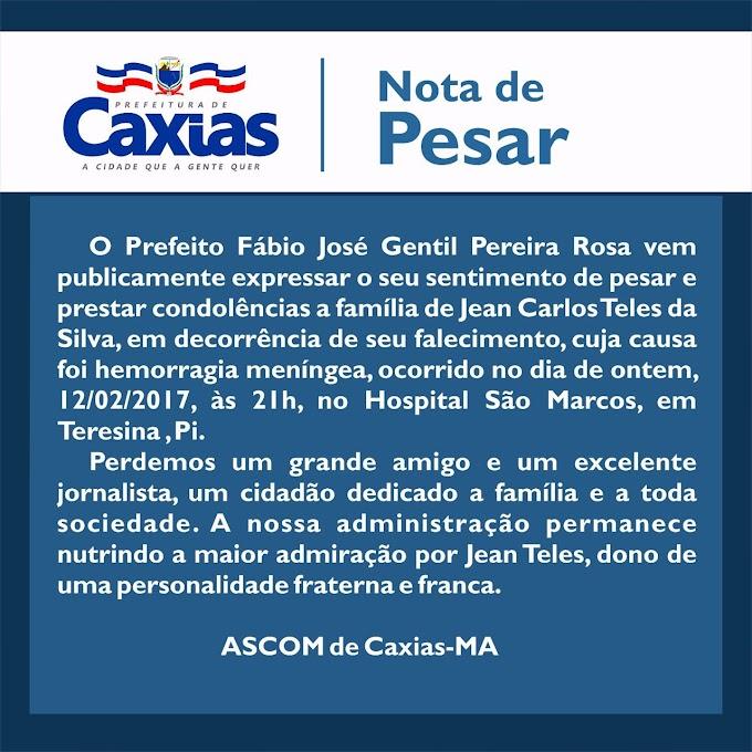 LUTO: Prefeito de Caxias emite nota de pesar à família do assessor Jean Teles