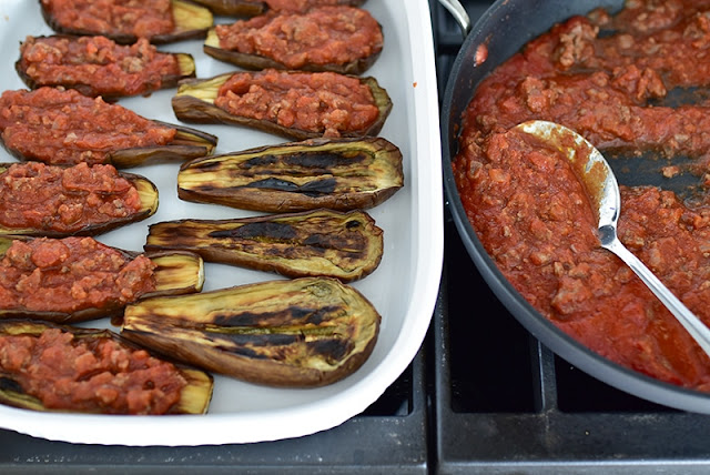 Filling the eggplant boats