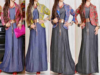 Model Long Dress Batik Kombinasi Blazer wanita