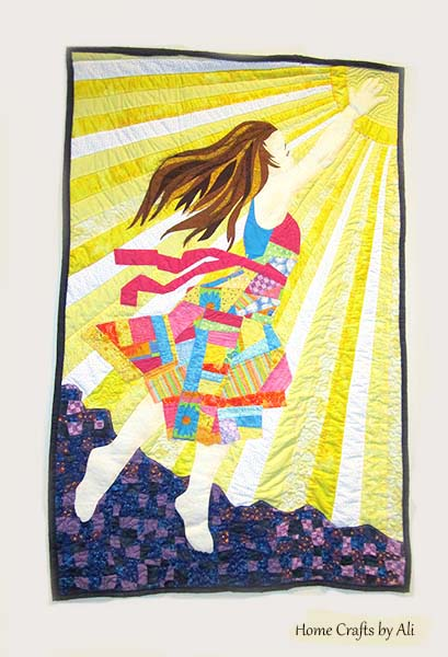 girls floating toward sun quilt