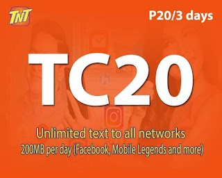 TNT TC20 – 3 days Unlimited text to Networks + 200MB/day Facebook