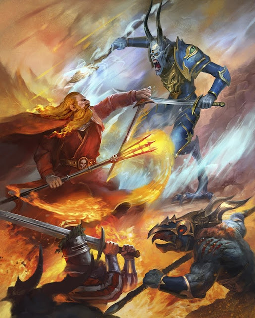 Warhammer age of sigmar artwork ilustration from battletome disciples of tzeentch magic duel