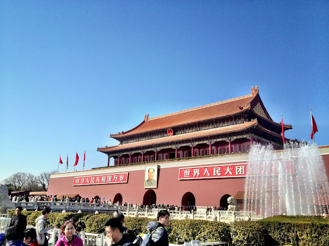 Temple with a plaque of Chairman Mao, in Tiananmen Square