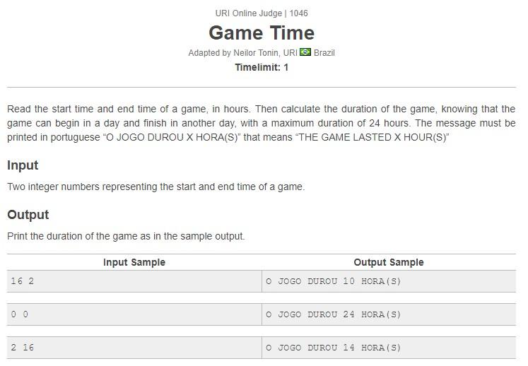 URI Online Judge Solution 1046 Game Time - Solution in C, C