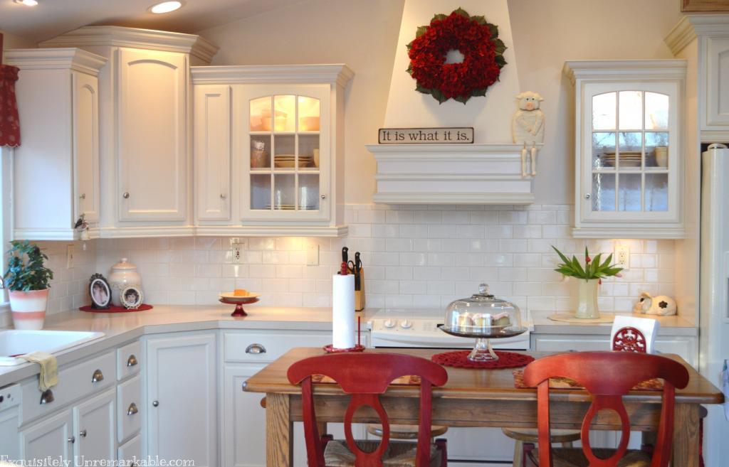 Red Hydrangea wreath in kitchen