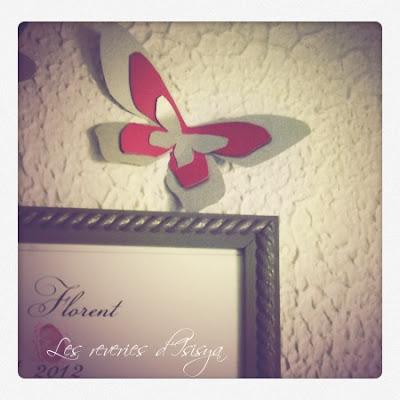 fleurs, papillons, décoration, murs