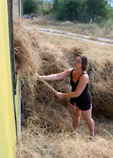 A begins the task of passing the hay into the green building