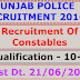 Punjab Police - Recruitment of Constable. Last Dt. 21/06/2016