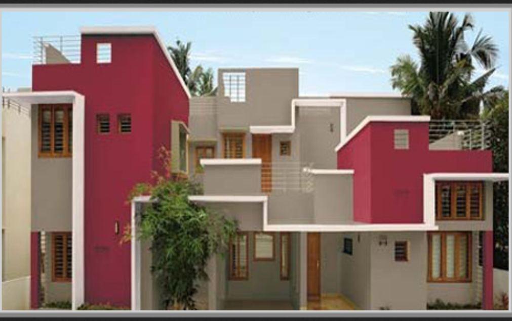 cat rumah minimalis warna ungu tampak depan