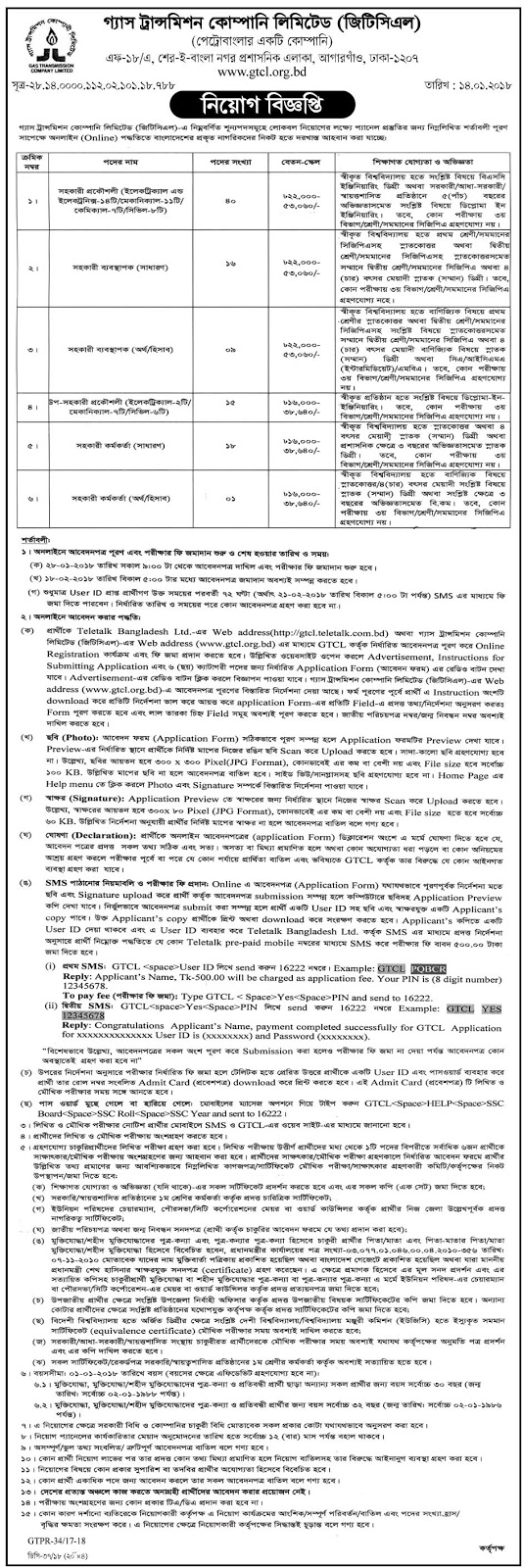 GTCL - Gas Transmission Company Limited Job Circular 2018