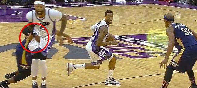 Buddy Hield EJECTED After Hitting DeMarcus Cousins with Low Blow (VIDEO)