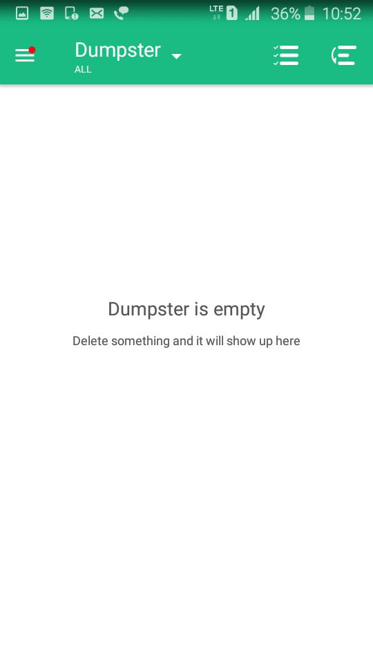 dumpster is empty