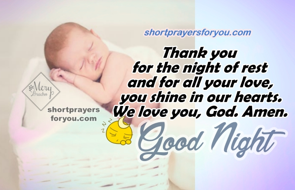 Good Night Short Prayer, christian quotes, prayer before going to sleep, Mery Bracho Prayers with image
