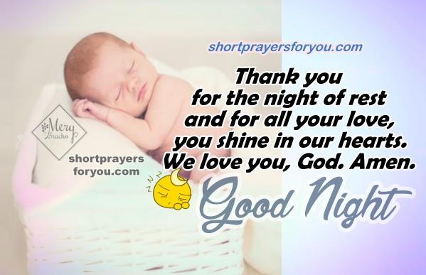 Good Night Short Prayer, christian quotes, prayer before going to sleep, Mery Bracho Prayers with image