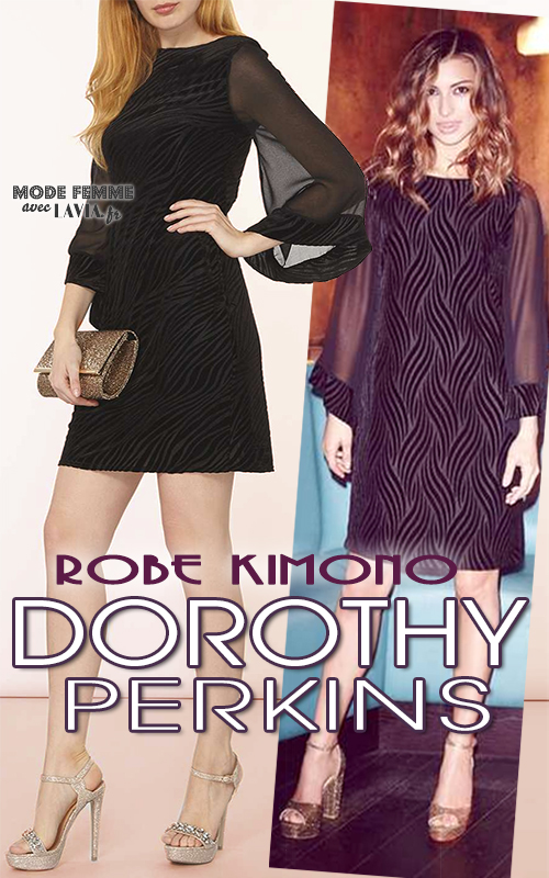 Robe du soir kimono en voile et velours noir DOROTHY PERKINS
