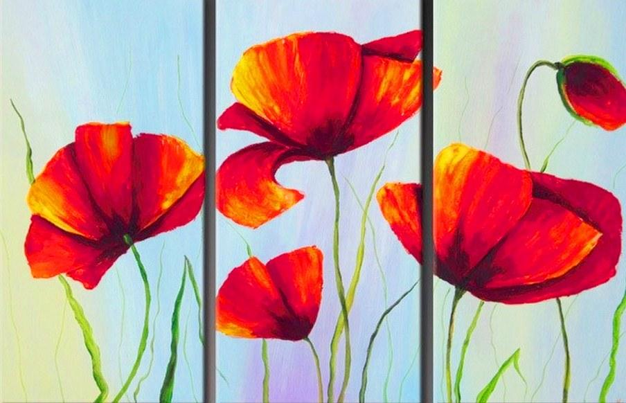 Cuadros modernos pinturas y dibujos cuadros tr pticos de flores modernas - Cuadros modernos para pintar ...