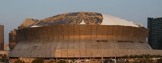 Hurricane Katrina Destroyed roof of the Louisiana Superdome