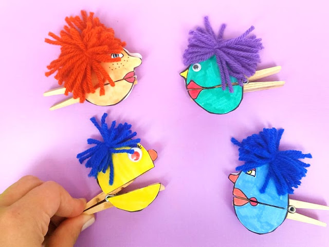 Clothespin Paper Puppets Craft for kids