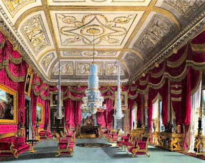 Crimson Drawing Room, Carlton House, from The History of the Royal Residences by WH Pyne (1819)