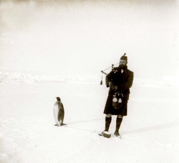 "Gilbert Kerr, Antartic expedition playing the bagpipes for a tethered penguin. ""there was no excitement, no sign of appreciation or disapproval, only sleepy indifference."" Penguin and other stories of penguins. marchmatron.com"