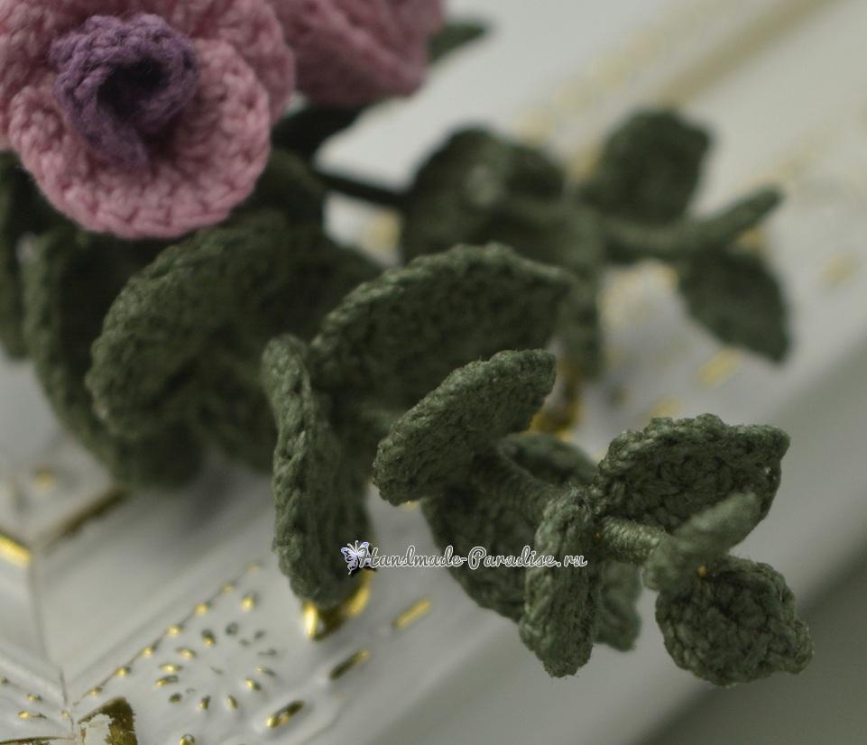 Брошь «Букетик роз» крючком. Схемы вязания (4)