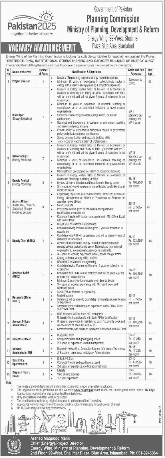 Jobs in Ministry of Planning Development and Reform Islamabad