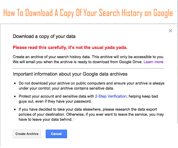 How To Download A Copy Of Your Past Google Searches