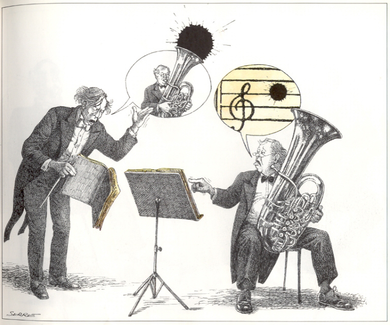 Claude Serre cartoon - Tuba goes Blatt!