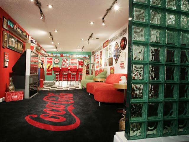 Coca cola theme basement remodel ideas