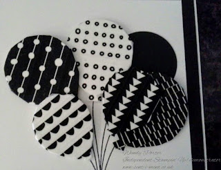 Stampin' Up! Wendy Porter, Independent Stampin Up demonstrator, Balloon Bouquet punch, Balloon Celebration, Crafty Cupcakes Design Team,  Washi tape, Black and White, birthday, card,