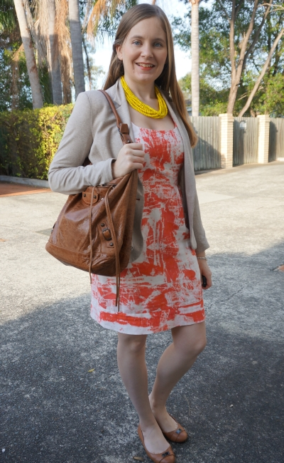 orange sheath dress spring office wear with yellow statement necklace brown bag cream blazer | awayFromBlue