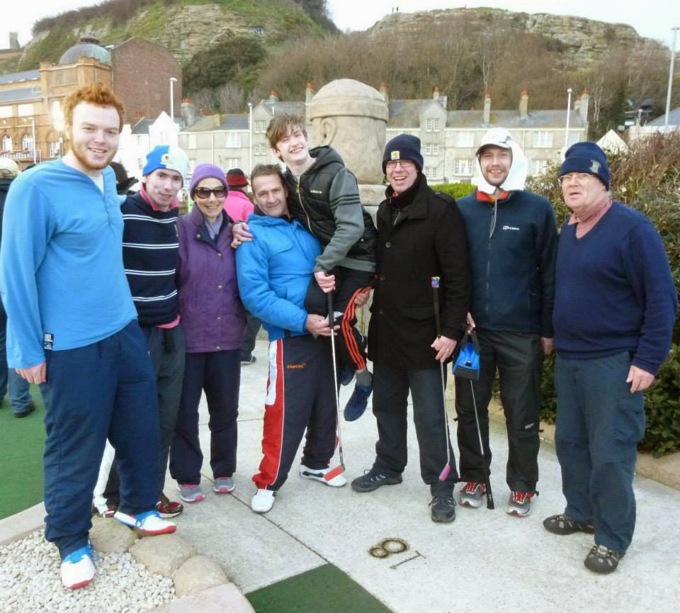 The Midlands Minigolf Club squad at the 2015 BMGA British Club Championships. From l-r Seth Thomas, Michael Smith (c), Brenda Smith, Paul Johnson, Owen Johnson, Richard Gottfried, John Moore, Chris Smith