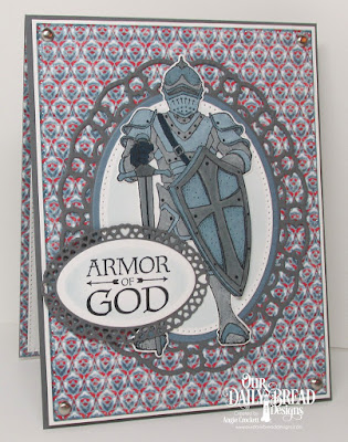 ODBD Armor of God, ODBD Custom Suit of Armor Dies, ODBD Custom Layered Lacey Ovals Dies, ODBD Custom Pierced Ovals Dies, ODBD Custom Ovals Dies, ODBD Custom Pierced Rectangles Dies, ODBD Americana Quilt Paper Collection, Card Designer Angie Crockett